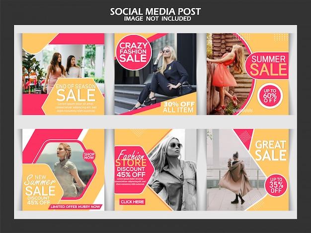 Moda szablon mediów społecznościowych szablon postu Premium Wektorów