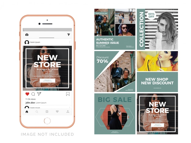 Moda szablon wiadomości social media Premium Wektorów