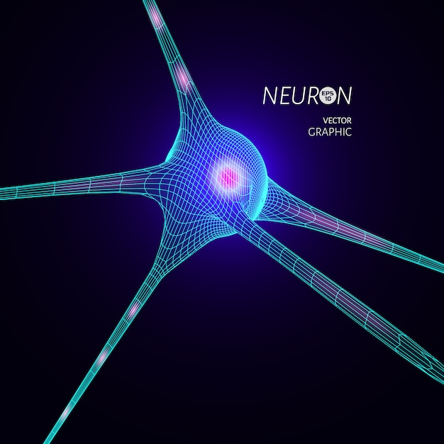 Model neuronu 3d. element projektu graficznego do publikacji naukowej. Premium Wektorów