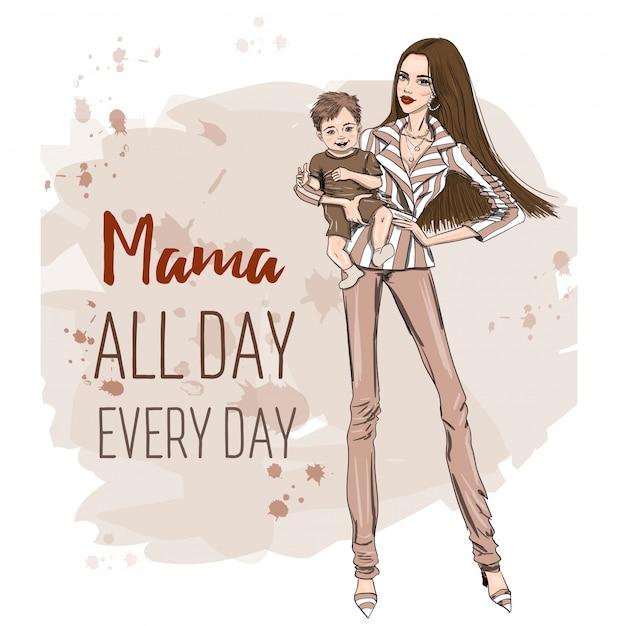 Modelowa Mama Z Małym Dzieckiem W Ręku Premium Wektorów