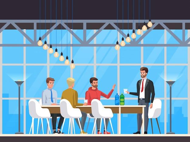 Modern cafe, restauracja wnętrz, creative office coworking center, Premium Wektorów