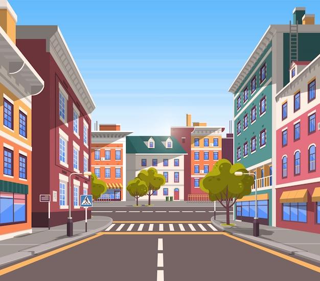 Modern city street, realistyczny, spokojny wygląd miasta Premium Wektorów
