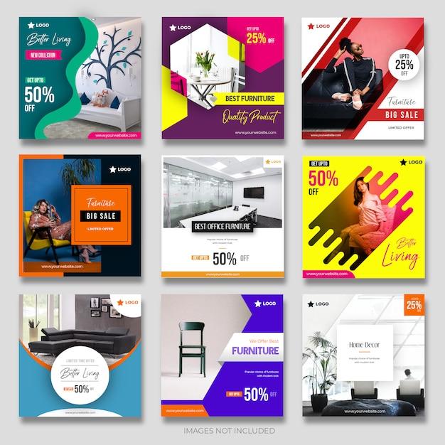 Modern_furniture kolekcja postów dla mediów społecznościowych dla marketingu Premium Wektorów
