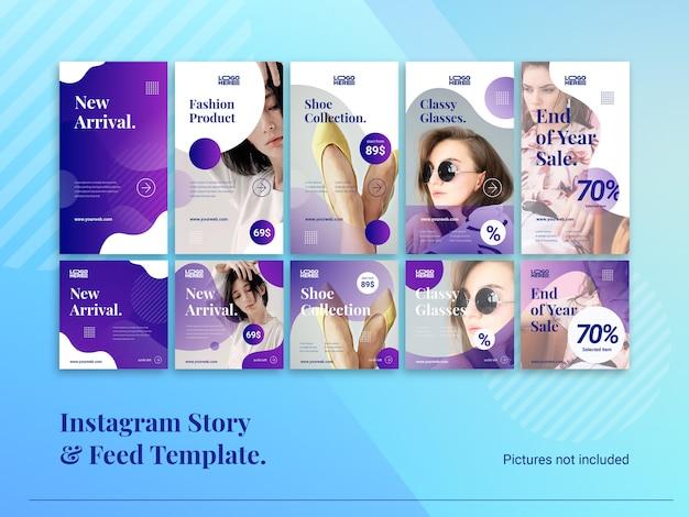 Modern instagram story & feed template Premium Wektorów