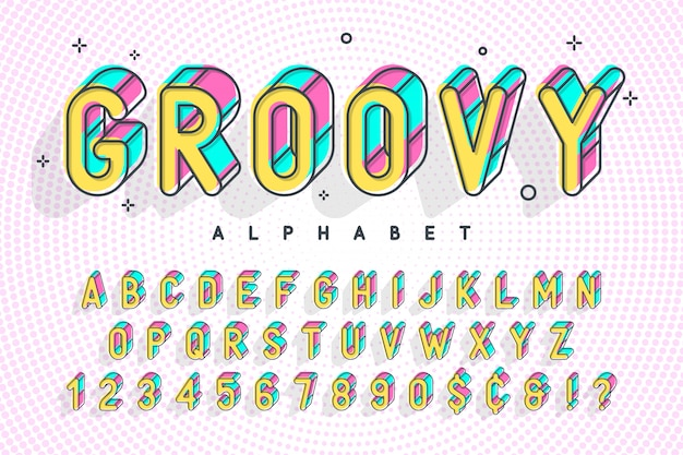 Modna czcionka popart, alfabet, litery i cyfry Premium Wektorów