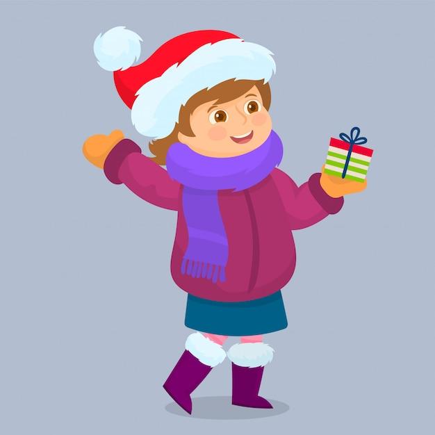 Modna dziewczynka z prezentem świątecznym, Premium Wektorów