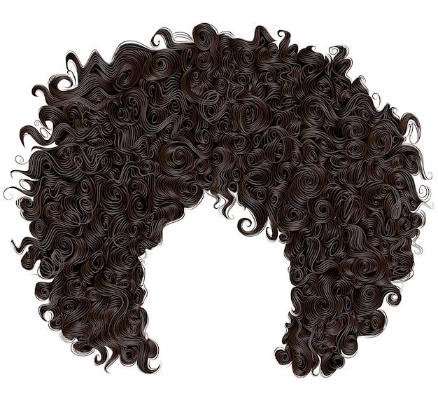 Modna Peruka Kręcone Afrykańskie Czarne Włosy Premium Wektorów