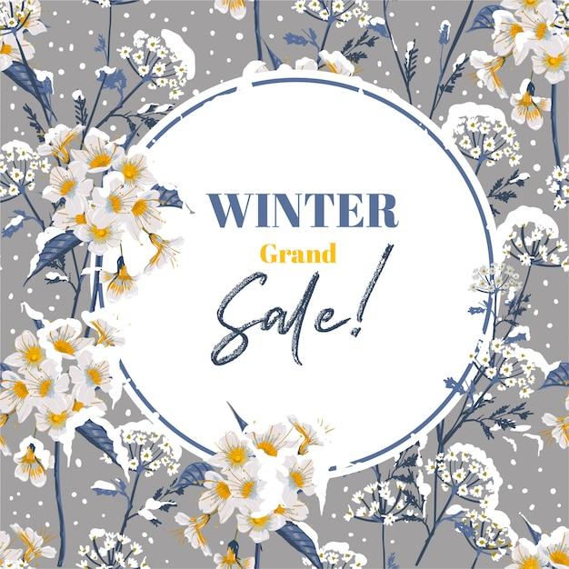 Modna Zima Kwitnąca Kwiatowo W Sezonie Zimowym Ze śniegiem, Projekt Banera Premium Wektorów