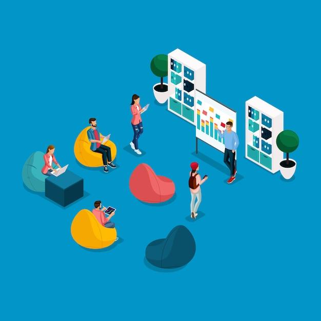 Modne Izometryczne Centrum Coworkingowe Dla Ludzi I Gadżetów, Nauka, Krzesła, Laptop, Pracujący Freelancerzy, Artyści, Programiści Są Izolowani Premium Wektorów