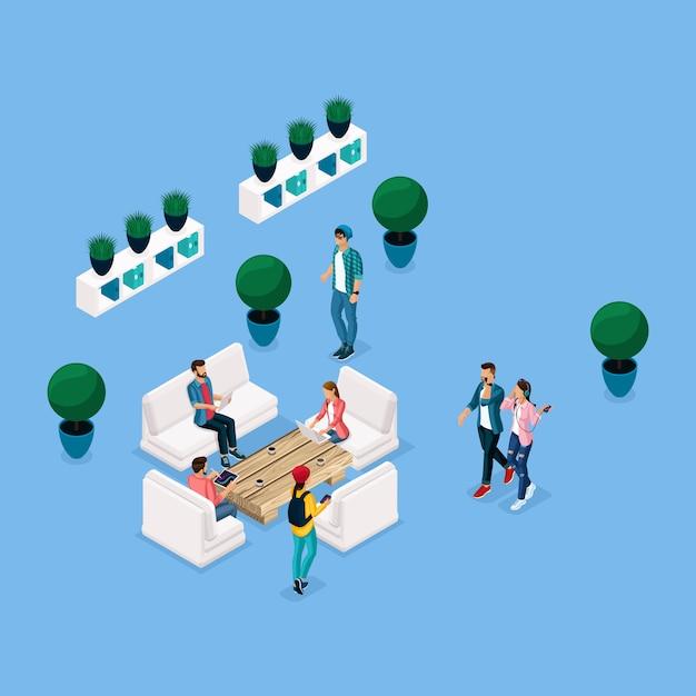 Modne Izometryczne Centrum Coworkingowe Ludzi I Gadżetów, Relaks I Dyskusja, Stylowe Wnętrze, Burza Mózgów, Spotkania, Praca Freelancerów Są Izolowane Na Niebieskim Tle Premium Wektorów