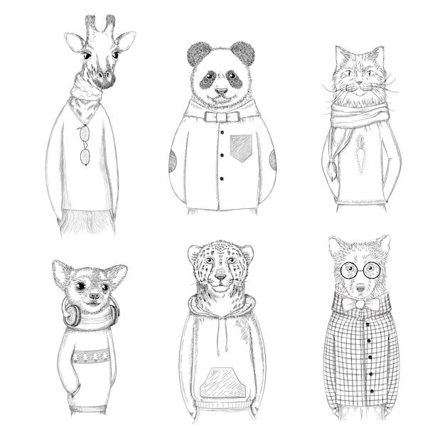 Modne Postacie Zwierząt. Hipster Ręcznie Rysowane Zdjęcia Zwierząt W Różnych Ubraniach Premium Wektorów