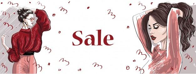 Modne ręcznie rysowane kobiety w sprzedaży transparent Premium Wektorów