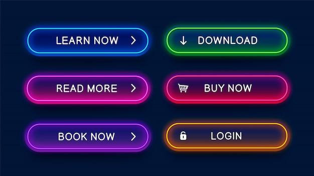 Modne, świecące, neonowe przyciski do projektowania stron internetowych. Premium Wektorów
