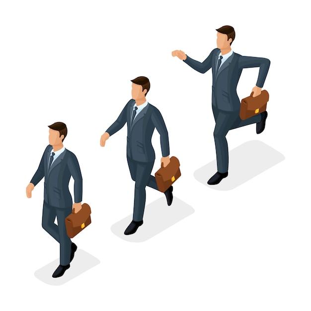 Modni Ludzie Izometryczny, Biznesmeni, Ruch Jogging, Szybki Krok, Osiągnięcie Celu, Młody Biznesmen Z Teczką Na Białym Tle Premium Wektorów