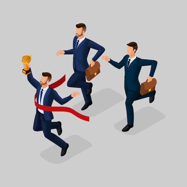 Modni Ludzie Izometryczny, Biznesmenów, Sukces, Zdobywając Puchar, Osiągając Cel, Młody Biznesmen Na Białym Tle Premium Wektorów