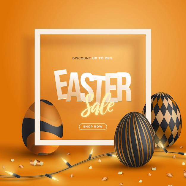 Modny 3d Sprzedaży Wielkanocny Sztandar Z Kwadratową Ramową Ilustracją Premium Wektorów