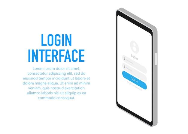 Modny Interfejs Logowania Aplikacja Z Oknem Logowania. Premium Wektorów