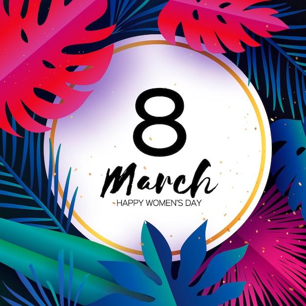 Modny Marzec. Tropikalne Liście Palmowe, Rośliny Premium Wektorów