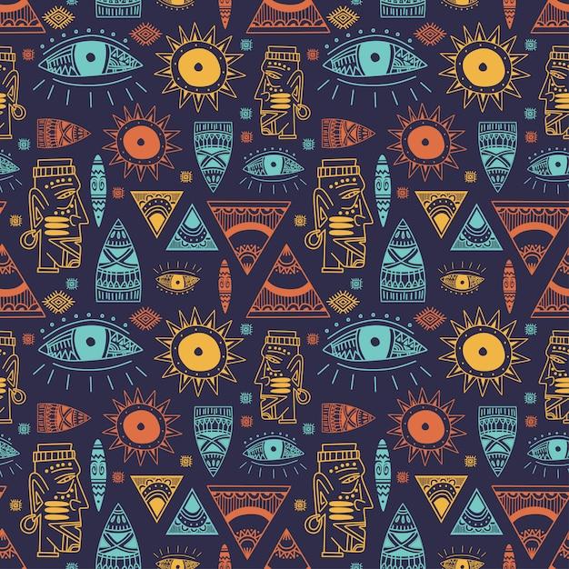 Modny wzór afrykańskiej maji z doodle ręcznie rysowane starożytne przedmioty Premium Wektorów