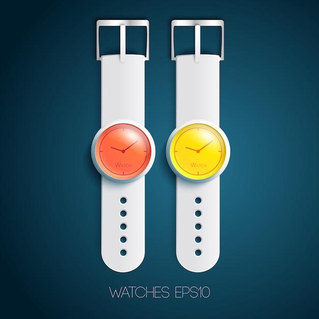 Modny Zegarek Z Akcesoriami Darmowych Wektorów