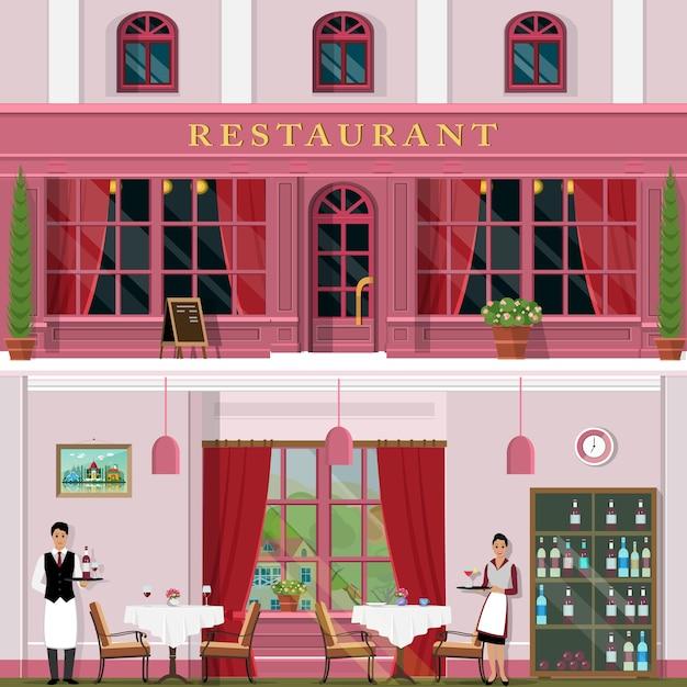 Modny Zestaw Restauracyjny Z Wnętrzem I Na Zewnątrz, Kelnerami I Kelnerką. Premium Wektorów