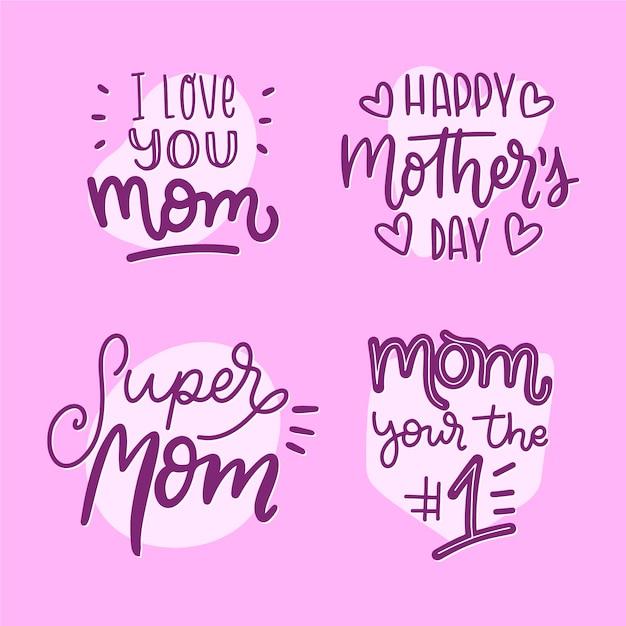 Moją Ulubioną Osobą Jest Ręcznie Rysowana Etykieta Mojej Matki Darmowych Wektorów