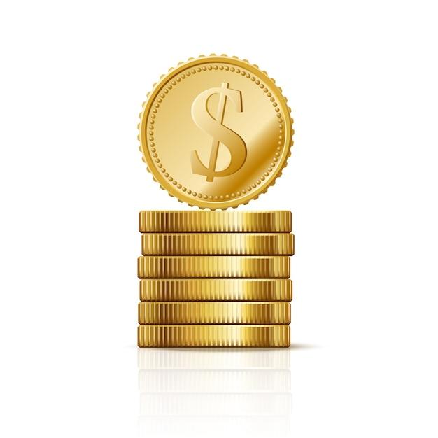 Monety. Kupie Złotych Dolarów, Biznes Finanse Symbol, Bogaty Sukces Premium Wektorów