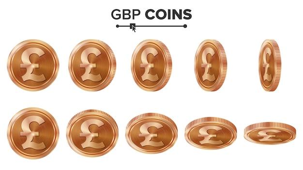 Monety miedziane gbp 3d Premium Wektorów