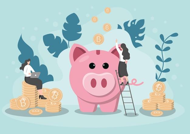 Money Box Pig Information Exchange Technology Illustration Premium Wektorów