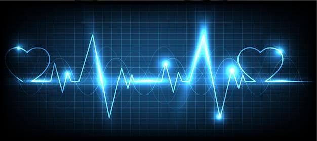 Monitor pulsu blue heart z tłem sygnału Premium Wektorów