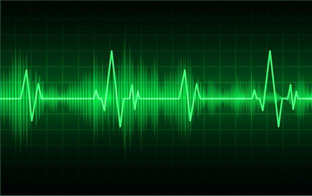 Monitor pulsu green heart z sygnałem. bicie serca. fala ikona ekg Premium Wektorów