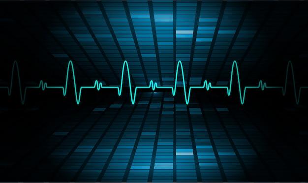 Monitor Tętna Blue Heart Z Sygnałem. Bicie Serca Premium Wektorów
