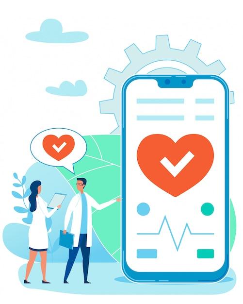 Monitoringÿðµñ ‡ ð ° ññ Monitorowanie Uderzeń Serca Za Pomocą Aplikacji Na Telefon. Premium Wektorów