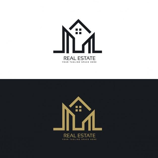 Mono linia domu projektowanie logo firmy nieruchomości Darmowych Wektorów