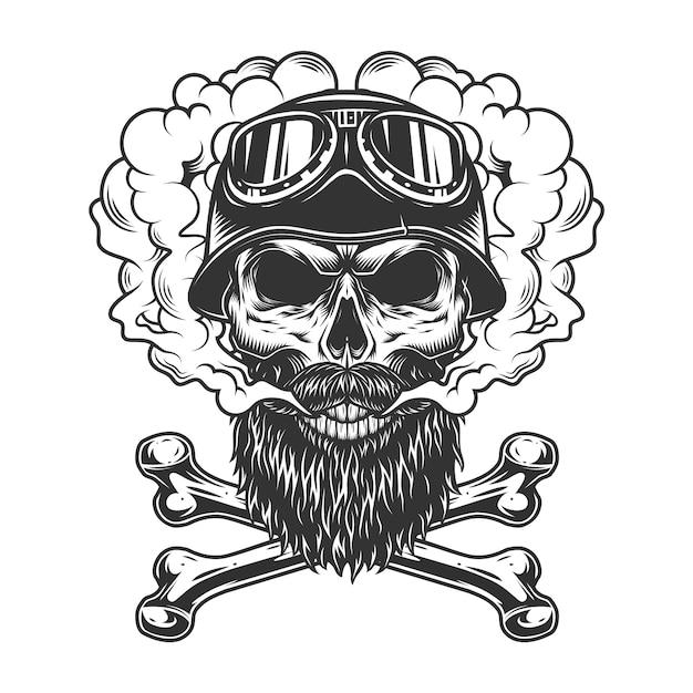 Monochromatyczna Rowerzysta Czaszka W Chmurze Dymu Darmowych Wektorów