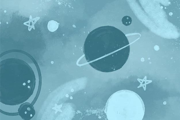 Monochromatyczna Tapeta Galaktyki Akwarela Darmowych Wektorów