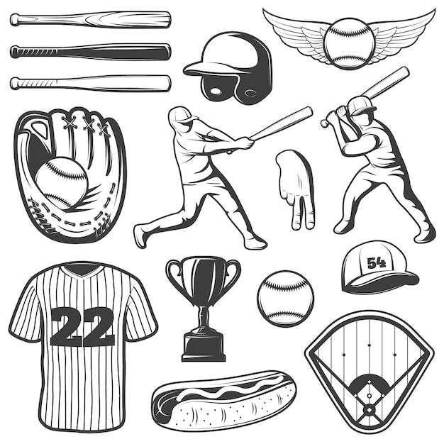 Monochromatyczne Elementy Baseballu Z Strój Sportowy I Gracze Trofeum Gestów Hot Dog Na Białym Tle Darmowych Wektorów