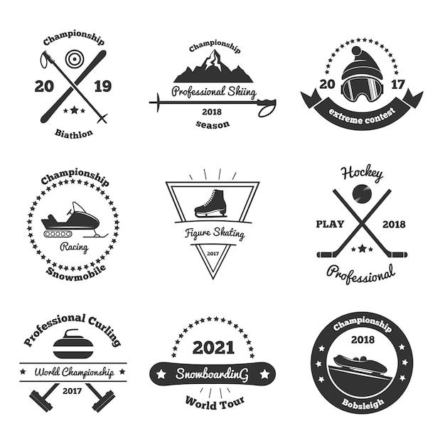 Monochromatyczne Emblematy Sportów Zimowych Premium Wektorów