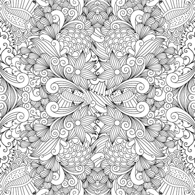 Monochromatyczne lato szkicowania wzór tkaniny Premium Wektorów