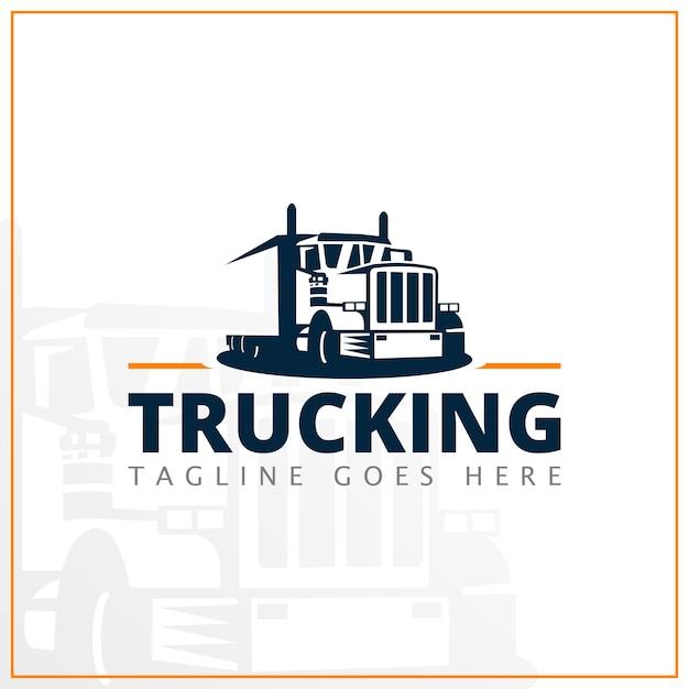 Monochromatyczne Logo Ciężarówki Dla Firmy Kurierskiej Premium Wektorów