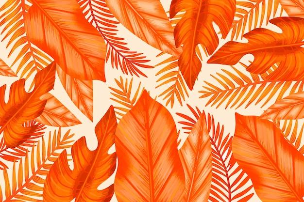 Monochromatyczne Pomarańczowe Liście Tropikalne Darmowych Wektorów
