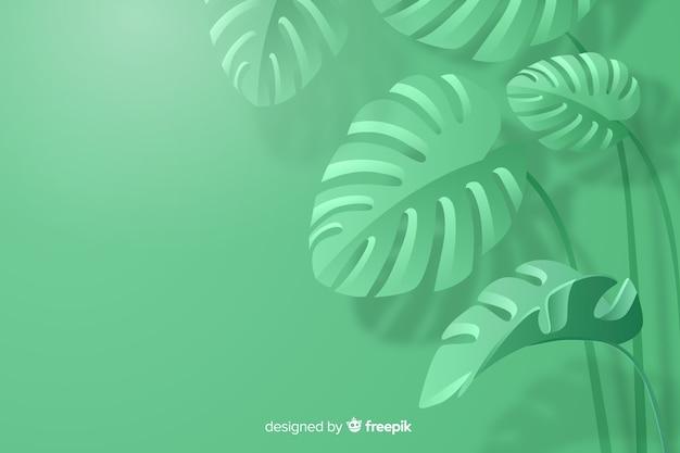 Monochromatyczne pozostawia tło w stylu papieru Darmowych Wektorów