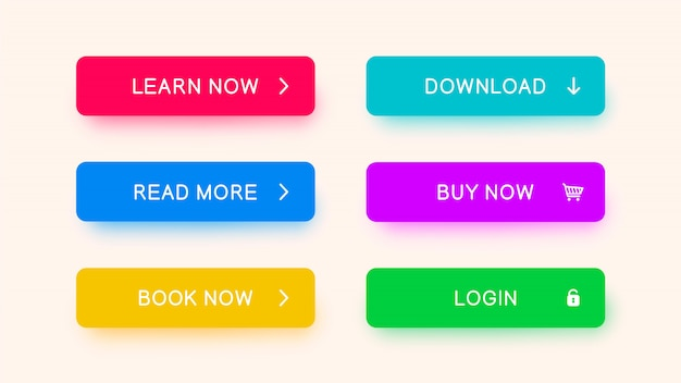 Monochromatyczne Przyciski Internetowe W Kolorze Czerwonym, Niebieskim, żółtym, Fioletowym I Zielonym. Premium Wektorów