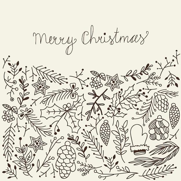 Monochromatyczne Tradycyjne Elementy Merry Christmas Card Na Szaro Darmowych Wektorów