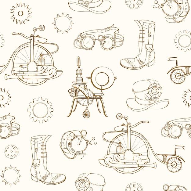 Monochromatyczny Wzór Z Atrybutami Steampunk I Odzież Ręcznie Rysowane Z Linii Konturu Na Jasnym Tle. Tło Z Maszynami Napędzanymi Parą. Premium Wektorów