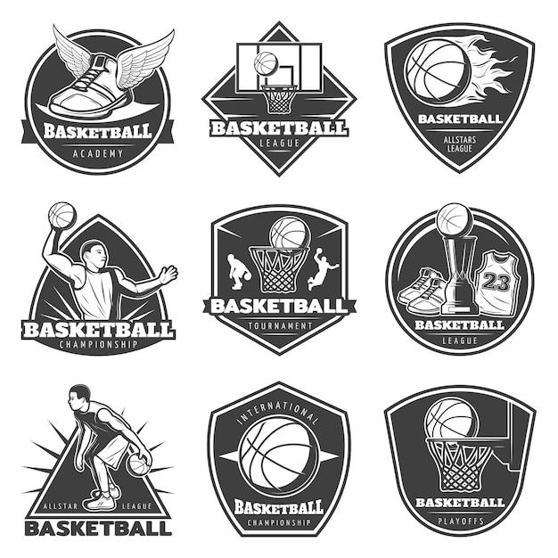 Monochromatyczny Zestaw Etykiet Vintage Koszykówka Darmowych Wektorów