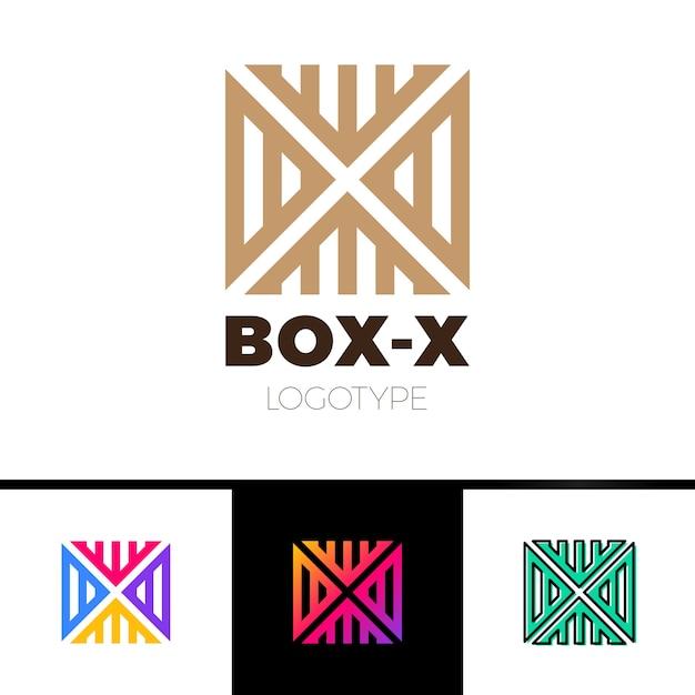 Monogram Liniowy X Logo Monogram W Pudełku Lub Kostce Premium Wektorów