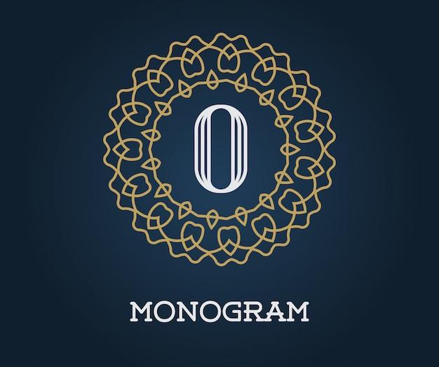 Monogram Szablon Z Ilustracji List Premium Eleganckiej Jakości Złoto Na Granatowym Kolorze Premium Wektorów