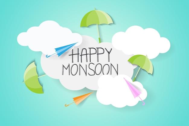 Monsun z parasolem Premium Wektorów