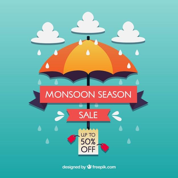 Monsunowy sezon sprzedaży tło w mieszkanie stylu Darmowych Wektorów